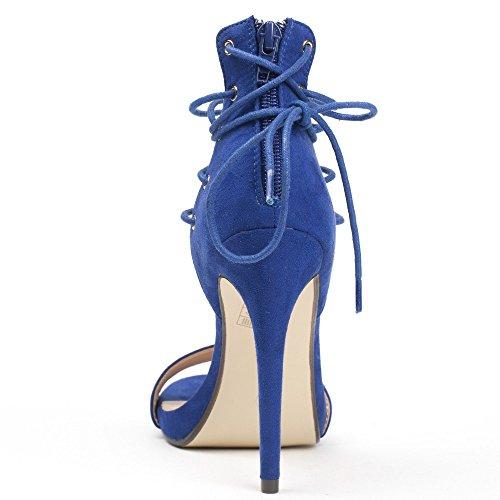 Ideal Shoes Sandales à Talon avec Lacets Gaelina Bleu