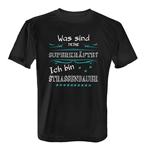 Fashionalarm Herren T-Shirt - Was sind deine Superkräfte - Straßenbauer | Fun Shirt mit Spruch als Geschenk Idee Bauarbeiter Bau Handwerk Beruf Job Schwarz