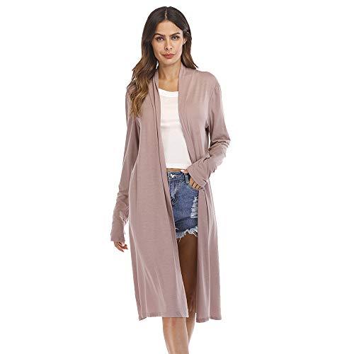 MRULIC Damen Trenchcoat mit Gürtel Strickjacke Slim Autumn Fashion Coat Funktionsjacke Sweatblazer