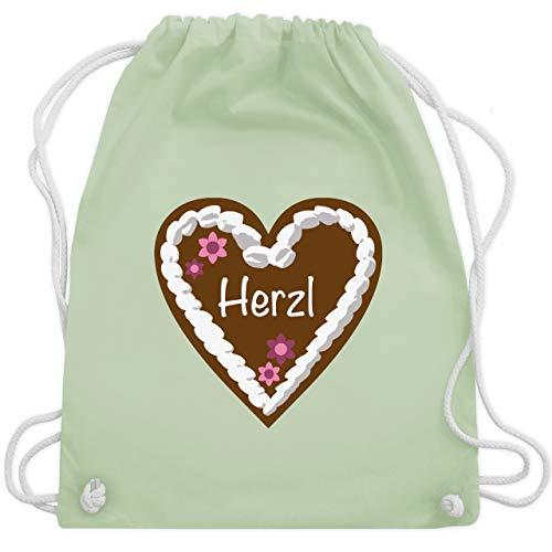 Romantisch - Lebkuchenherz Herzl - Unisize - Pastell Grün - WM110 - Turnbeutel & Gym Bag -