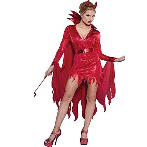 Fashion-Cos1 Sexy Engel Teufel Kostüme Frauen Halloween Geisterbraut Hexe Dämon Vampir Spiel Uniform Kostüm Party Kleid (Size : XL)