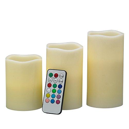 3 LED Kerzen mit Fernbedienung, Farbwechsel und Timer: Stimmungsvolle Echtwachs-Kerzen groß + weiß mit flackernder Flamme (Kerze Laterne Mit Timer)