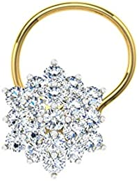 TBZ - The Original 18k (750) Yellow Gold and Diamond Wire Nosepin