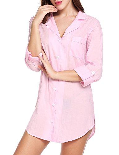 Avidlove Damen Viktorianisch Nachthemd T-shirt Luxus Nachtwäsche- Gr. L, Langarm 2: Rosa - Luxus Nachtwäsche