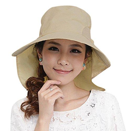 YJZQ Sommerhut Damen Baumwolle Sonnenhut Schlapphut mit Nackenschnur Faltbar Großer Rand Strandhut Anti-UV-Hut UPF 50+ für Frauen