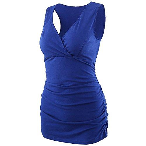 Schwangere Stillshirt, KUCI Damen Schwanger T-Shirt Umstandsmode Umstandsshirt Mutterschaft Umstandstop/ Schlaf BH zum Stillen (M, Blue) (Stillen Ärmellose Tops)