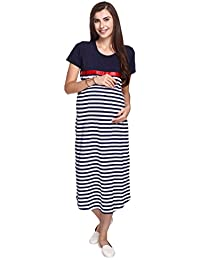 e725dfca0d0c5 MomToBe Women's Cotton Maternity Dress (mtbpkwhd1339, Pink and White,  Medium)