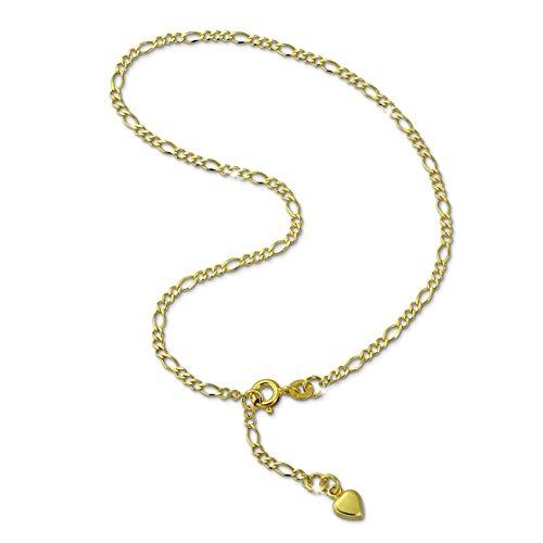SilberDream Fußkette Herz 333 Gold 25cm Damen 8 Karat Echtschmuck D2GDF0045Y