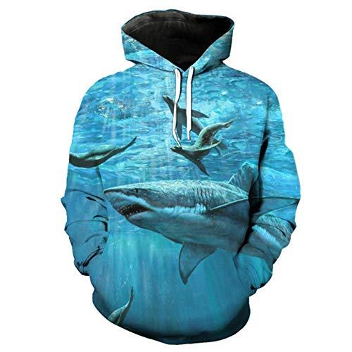 Qomg 3D Sweater Sweatshirt Fish Series Blau Lässiger Sweater Shark Seal Print Lustiges 3D Hooded Sweatshirt, YU2009, XXXL