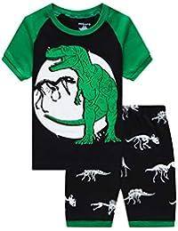 Popshion - Pijama infantil de dinosaurio, 100% algodón, manga corta, verano, 2 piezas, ropa de 2 a 7 años