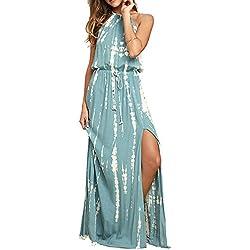 BMJL Vestidos de Las Mujeres Cintura Ajustable sin Espalda Halter Cuello Dividir teñido Anudado sin Mangas Maxi Beach Boho cóctel Summer Ladies Sun Dress