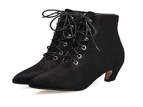 Frauen 4,5 cm Kitten Ferse Spitz Lace-up Martin Stiefel Ankle Boots Einfache reine Farbe Kleid Stiefel Court Schuhe Eu Größe 34-40 ( Color : Black suede , Size : 36 ) (Ankle Up Ferse-lace Boot)