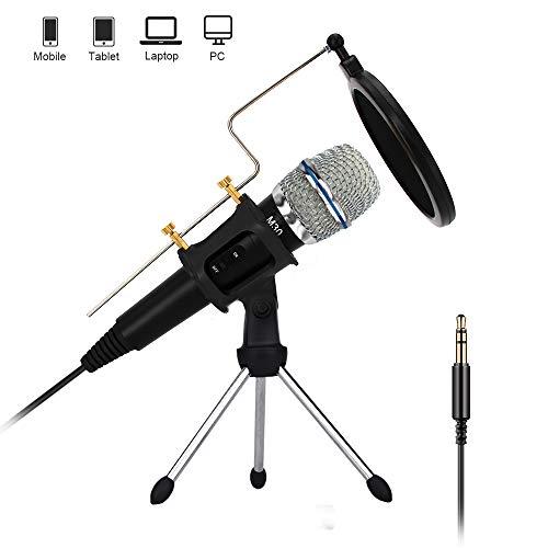 XIAOKOA Kondensator Mikrofon,3,5 mm und USB Mikrofon,Handheld Mikrofon für Mobiltelefon / Computer,Geeignet für Aufnahme, Podcasting, Online-Chat, Facebook, MSN, Skype -