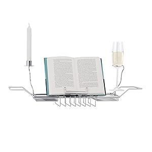 Relaxdays Badewannenablage Buchstütze, ausziehbares Badewannentablett mit Accessoires, Metall, HBT: 22x92x21cm, silber