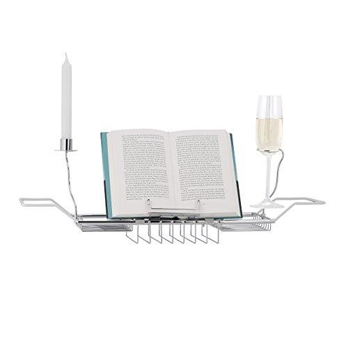 Preisvergleich Produktbild Relaxdays Badewannenablage mit Buchstütze,  Kerzenhalter,  max. Größe: H x B x T: 5, 5 x 92 x 20 cm,  silber
