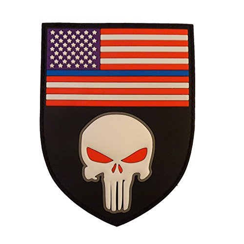 3D Thin Blue Line Punisher Shield USA American Flag PVC Rubber Hook-and-Loop 9b65474d226