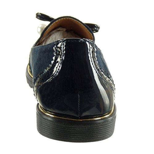 Angkorly - Chaussure Mode Mocassin bi-matière slip-on femme noeud perle perforée Talon plat 1.5 CM Bleu