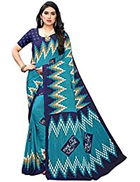 Anni Designer Women's Blue Color Chiffon Printed Saree With Blouse (SHALINI BLUE_Free Size)