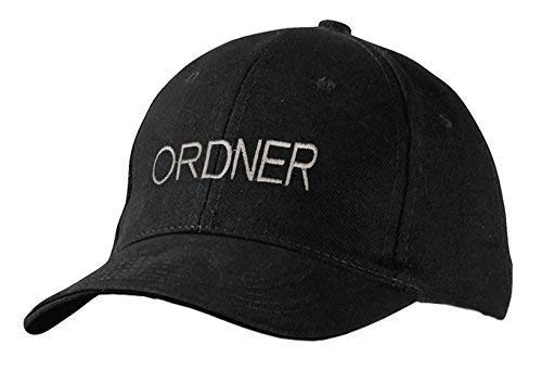 Baseballcap mit Stick - Ordner - 68314 schwarz - Cap Kappe Baumwollcap (Ordner-fan)