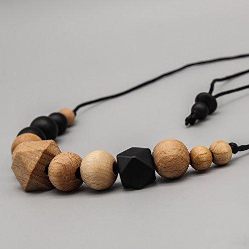 Halskette -beachwood- schwarz Stillkette/Silikon-Holzschmuck