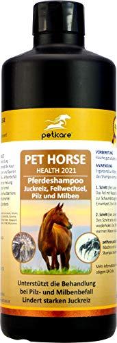 Peticare Pferde-Shampoo gegen Juckreiz, Milben, Pilzbefall - Spezielle Pflege entfernt schonend & leicht Milbeneier, Larven & Pilzsporen von der Haut, 100% natürlich - petHorse Health 2021 (500 ml)