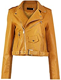 GG neuen Frauen Faux-Leder- Zip Crop Damen Biker-Jacken-Mantel