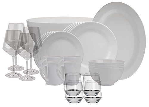 100% Melamin-Geschirr Purely weiss eckig + Weingläser + Servierplatte + Salatschüssel +...