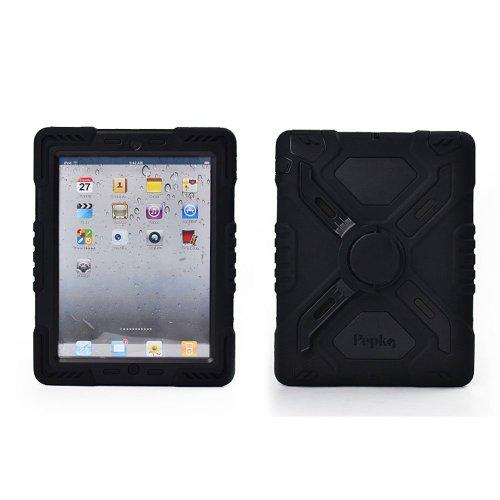 2 Ipad Hot Apple Pink Fall (Hot neueste Ipad Kid Dual-Pflicht Kunststoff-Schock Ohradapter Extreme Schutz der Rückseite mit Ständer und Sticker für iPad–Regen Sandproof Staubdicht Stoßfest (iPad Mini, Schwarz))