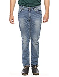 Spykar Mens Light Blue Narrow Fit Low Rise Jeans (Rover)