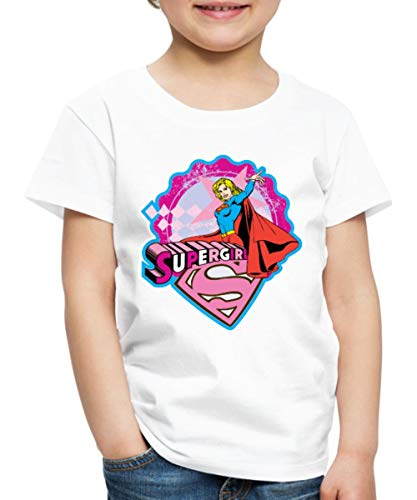 Spreadshirt DC Comics Supergirl Pose Kinder Premium T-Shirt, 134/140 (8 Jahre), Weiß
