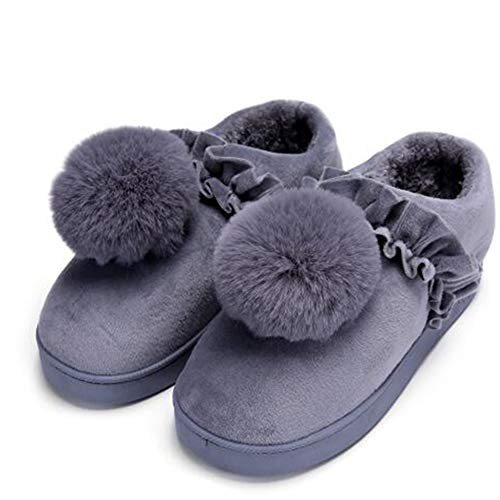 Winter Warme Schuhe Damen Weichem Plüsch Memory Foam Hausschuhe Flache Unterseite Rutschfeste Indoor Frauen Nette Flauschige Haus Slipper