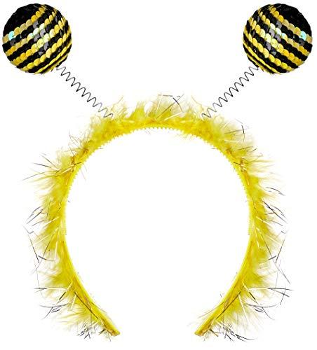 (Balinco Haarreif Biene mit Fühlern für Damen & Mädchen als Accessoire für Ihr Kostüm zum Karneval)