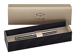Parker S0161590 Jotter Füllfederhalter (edelstahl mit Chromeinfassung, mittlere Schreibfeder, Geschenkbox)