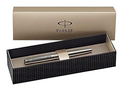 Parker S0161590 Jotter Füllfederhalter (edelstahl mit Chromeinfassung, mittlere Schreibfeder,