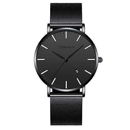 Celucke Armbanduhr Herren Edelstahl Mesh Armband Uhr, Männer Datum Kalender Wasserdicht Klassisch Uhren Analog Luxus Herrenuhr Business Quarzuhr