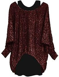 55e9721b3088 Jerseys De Punto para Mujer Manga Larga Suelto Prendas De Punto Suéter  Jerséis + Camiseta Sin