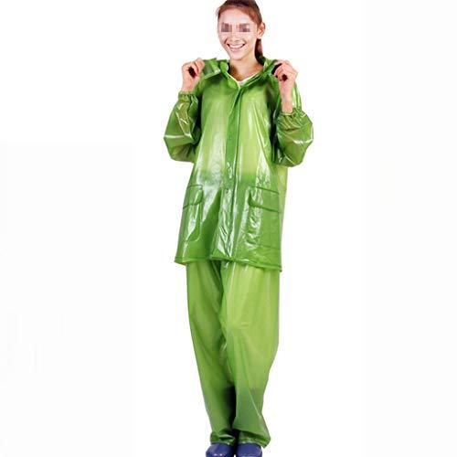 TXDTX-Raincoat Regenanzug FüR Erwachsene Regenjacke Mit Kapuze Umweltfreundliches Material Aus PVC Wasserdichtes Taschen-Design Outdoor-Freizeitwind Obst GrüN Bergsteigen Jagd -