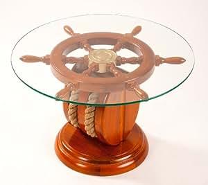 tisch steuerradtisch couchtisch mit glasplatte rund 65 cm auf steuerrad mit messingnabe und. Black Bedroom Furniture Sets. Home Design Ideas
