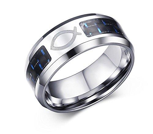 Vnox Herren Edelstahl Blau Schwarz Carbon FIber Jesus Fisch Symbol Ehering Ring Religiöse Schmuck