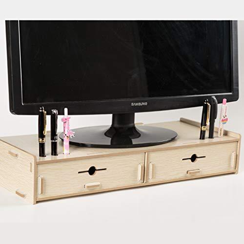 HKPLDE Monitorständer/Holz Bildschirmerhöhung Robust mit Schubladen Ergonomisches Bildschirm Für Heim und Büro-Eiche Farbe