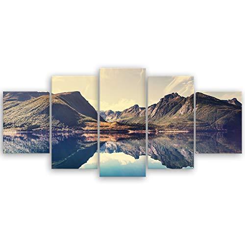 ge Bildet® hochwertiges Leinwandbild XXL - Norwegische Berglandschaft - 150 x 70 cm mehrteilig (5 teilig) 2019