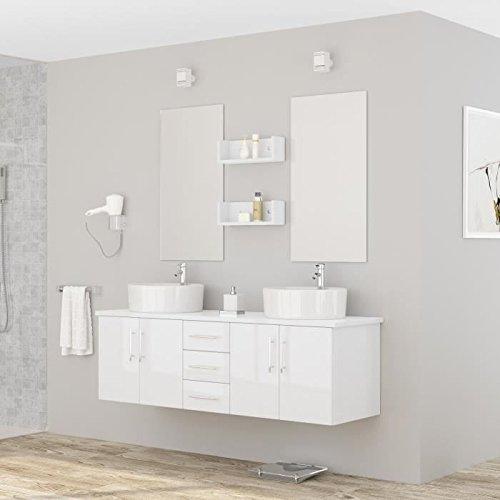 Générique Diva Salle de Bain Complete Double Vasque 150 cm - laqué Blanc Brillant