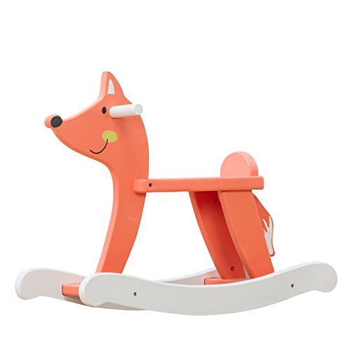 labebe Baby Rocking Horse Wooden, Orange Fox Rocking Horse for Baby Up 1 Year, Baby Rocker Chair/Toddler Rocker Chair/Child Rocking Horse/Wooden Rocking Horse/Child Rocker Toy/Kid Rocker