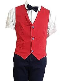 903e1259b2d308 Completo sportivo elegante bambino ragazzo cerimonia estivo rosso tg 40