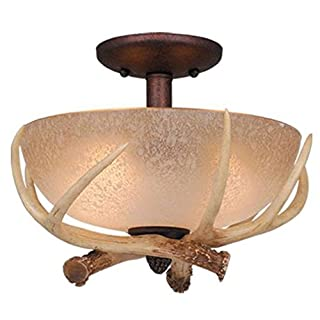 Vaxcel Lighting Lk33012-C Rustic / Country Two Light Down Lighting Fan Light Kit From The Lodge Collection, Weathered Patina
