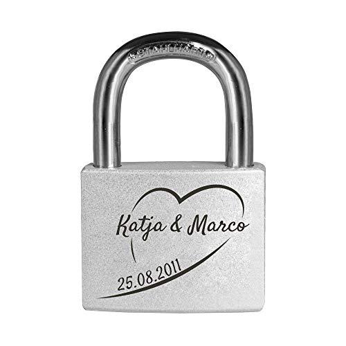 Personello® Liebesschloss mit Gravur - Herz Motiv- Vorhängeschloss mit individuellem Datum und Namen graviert, silber, Premium Qualität -