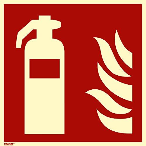 Brandschutzzeichen Schild, Feuerlöscher, Aluminium langnachleuchtend, 150 x 150 mm gemäß ASR A1.3/ISO 7010
