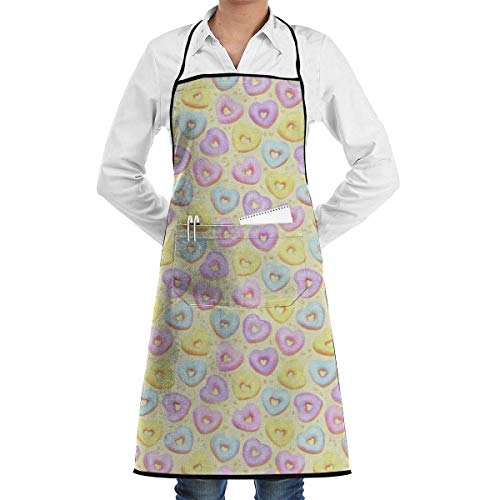 Bib Apron with Pocket Heart Shaped Donut Kitchen Apron Waterproof for Cooking Baker Servers BBQ 20