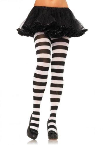 Schwarz Gestreifte Strumpfhose-strumpfhosen (Leg Avenue Damen Strumpfhose geringelt schwarz weiß blickdicht Einheitsgröße ca. 38 bis 40)