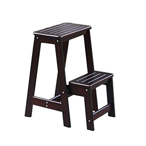 Massivholz Klapp Dual-use-Stufenleiter Einfache Indoor 2-Stufen-Leiter Stuhl Haushalt Multi-Funktions-Treppen-Hocker ( Farbe : Deep Walnut color )